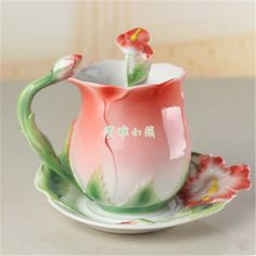 2017 New Colourful Coffee Cup Ceramic Porcelain Enamel Cups and Mugs Red Rose Flower Wedding Birthday Gift Tea Cup  #Affiliate