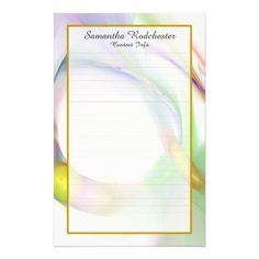 Monogram Multi Color Feather Ring Lined Stationery