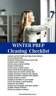 Use this Winter Cleaning Checklist to get your home and yard ready for winter. Includes tips for getting your pantry ready for power outages, preparing your heat sources, cleaning winter gear and storing summer gear, and more winter cleaning tips. Deep Cleaning Tips, Cleaning Checklist, House Cleaning Tips, Cleaning Solutions, Spring Cleaning, Cleaning Hacks, Cleaning Schedules, Cleaning Lists, Speed Cleaning