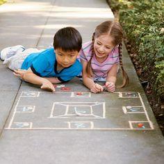 Sidewalk Skellzies / Chalk it up! 15 Creative Chalk Ideas / Family Fun Magazine / Kids Summer Activities