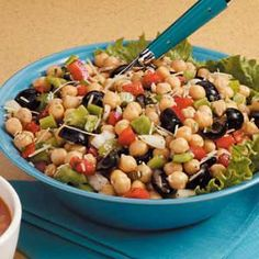 """Favorite Garbanzo Bean Salad Recipe -Gonzo for garbanzos, Eleanor Glofka found a way to duplicate a favorite restaurant recipe at home. """"It's excellent as a side dish, as an appetizer or spooned over a tossed salad,"""" she writes from Mountain Top, Pennsylvania. """"It keeps for days in the refrigerator, but it never lasts that long in my house!"""""""