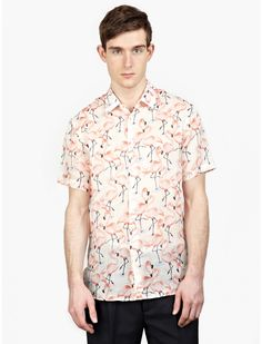 Men's Flamingo Printed Short-Sleeved ShirtThe Marc Jacobs Flamingo Printed Short-Sleeved Shirt for SS15, seen here in multicolour.