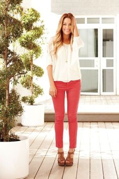 red pants + white blouse