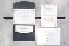 Elegant pocket wedding invitation suite and thank you card with a classic border, printed on champagne shimmer paper. www.paperandhome.com Thank you @Jodi Inouye for the photo!