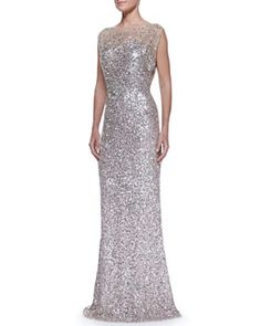 B2MDY Jenny Packham Beaded & Sequined Gown, Silver/Nude