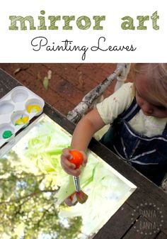 Mirror Art painting leaves activity for toddlers and preschoolers from Danya Banya.   Is it sunny today? Head outside and paint whatever is 'up' at your place.