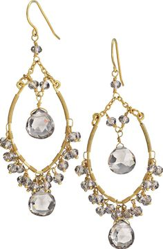 Juliette Gem Drop Earrings by Stella  Dot. Hand faceted smoky glass stones are beautifully handwrapped with gold plated brass wire. Lightweight.