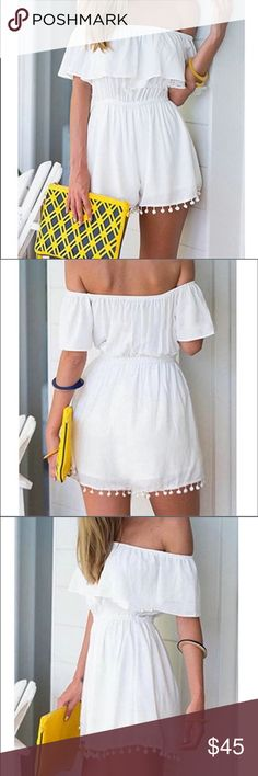 Off Shoulder Romper  Precious white off the shoulder romper! Boutique Pants Jumpsuits & Rompers
