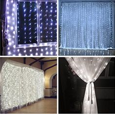 300 Led Icicle Curtain Lights Christmas xmas Lights Wedding Lights String Lights for Home Decor With Memory Function Controller UL certified (White)