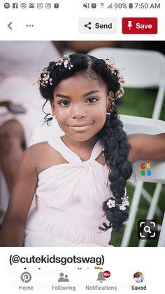 Kids Hairstyles For Wedding, Black Bridesmaids Hairstyles, Bridesmaid Hair Side, Natural Wedding Hairstyles, Black Little Girl Hairstyles, Flower Girl Hairstyles, Crown Hairstyles, Bride Hairstyles, Toddler Hairstyles