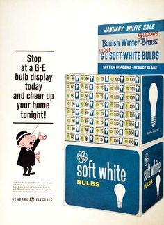 1967 General Electric Soft White Light Bulbs original vintage advertisement. With celebrity endorsement by Mr. Magoo.