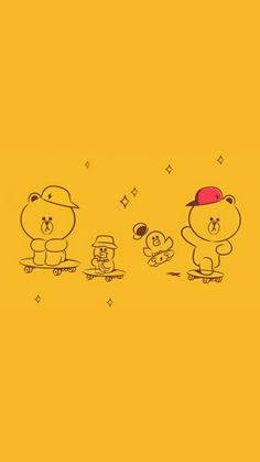 Line Brown Bear, Line Friends, Cute Cards, Card Ideas, Wallpapers, Cartoon, Fictional Characters, Pretty Cards, Wallpaper