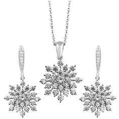 Snowflake Silver Tone Crystal White Necklace Earring Jewelry Set for Her
