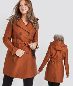 Manteau cintré col cranté rose corail femme | Cache Cache