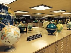 some of the globes in The American Geographical Society Library collection at the University of Wisconsin-Milwaukee, Wisconsin, USA