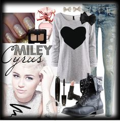 """""""Miley Cyrus Inspired Outfit"""" by david-james-carter ❤ liked on Polyvore"""