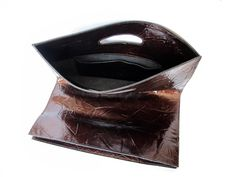 Brown leather bag purse foldover purse clutch sale by JUDtlv