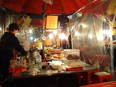 street food in Korea--These stalls set up everywhere,  as afternoon begins to head toward nightfall, and some are up all day and all night.