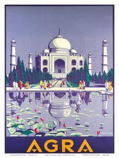Agra India Taj Mahal Vintage World Travel Art Poster Print Giclée A4 Poster, Poster Prints, Art Prints, Poster Frames, Agra, Taj Mahal, India Poster, Vintage Travel Posters, Vintage Airline