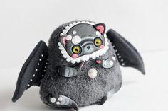 black cat art doll creepy toy Gothic Doll monster от LullabyForFox