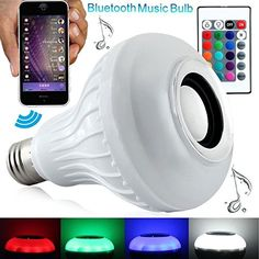 24 Style Wireless 12W Power E27 LED RGB Bluetooth Speaker Bulb Light Lamp Music Playing  RGB Lighting with Remote Control II17 ** For more information, visit image link.