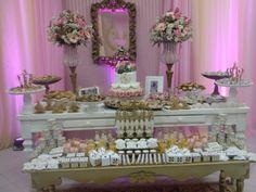 Decoração da mesa da festa princesa romântica