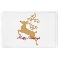 Happy Holidays Gold Rudolph Reindeer Acrylic Tray - red gifts color style cyo diy personalize unique