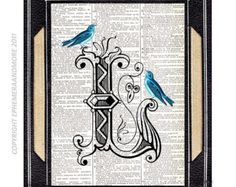 L Letter L typography art print on upcycled recycled vintage dictionary book page Text ART Alphabet Initial monogram L with Blue Bird 5x7