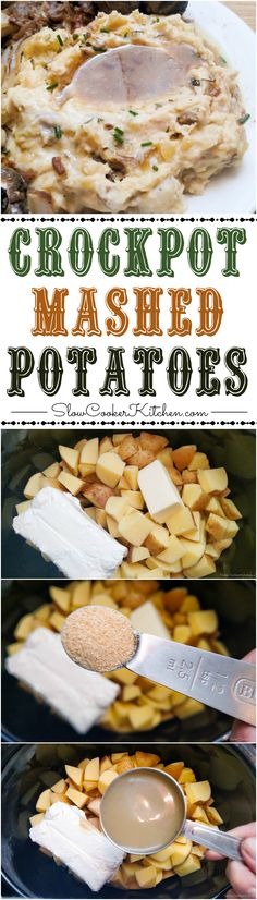 Country-Style Crock Pot Mashed Potatoes | SlowCookerKitchen.com https://www.slowcookerkitchen.com/crock-pot-mashed-potatoes/