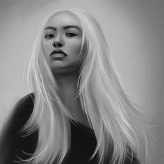 "¡Carrie! on Instagram: ""#portraitpainting #portraitart #portraitartist #asianwoman #asianblonde #blackandwhite #blackandwhiteportrait #photoshopart"" Black And White Portraits, Portrait Art, Carrie, Asian Woman, Instagram"