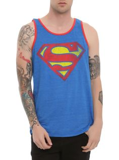 Heather blue tank top with distressed Superman logo and red trim.