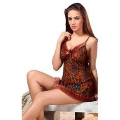 Lacy Leopard Print Nightdress for Women