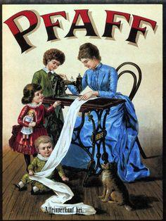 Pfaff Machine Mother Children Dog Sew Sewing Vintage Poster Repro