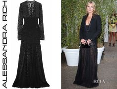 Kate Moss� Alessandra Rich Ruched Leopard-Lace Gown