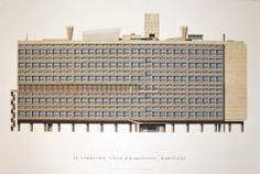 Le Corbusier Unite d'Habitation, Marseille x Poster Modernism Blue, White Architecture Drawing Sketchbooks, Architecture Portfolio, Classical Architecture, Futuristic Architecture, Architecture Details, Landscape Architecture, Hospital Architecture, Chinese Architecture, Architecture Office