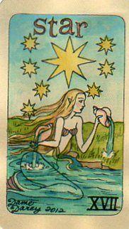Dame Darcy Mermaid Tarot - The Star. fortune telling. Get her beautiful deck at her DameDarcy shop on Etsy! Mermaid Tarot, Tarot Cards Major Arcana, Pirate Maps, Star Tarot, Real Mermaids, Tarot Card Decks, Merfolk, Oracle Cards, Science Art