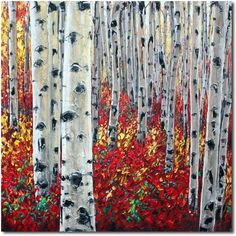 Aspens and Rubies - Aspen Painting by The Aspen Artist , painting by artist Jennifer Vranes