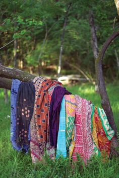 Set Of Six Cotton Kantha Throw-Assorted Sizes And Patterns #2