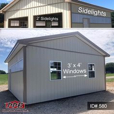 "Have light in your garage without using electric with sidelights and windows! 24' W x 24' L x 10' 4"" H (ID# 580) 48 ft. of 2' Sidelights, Location: 6' to 8' Purlin (4) 3' x 4' Single-Hung Insulated Windows with Screens & Grids PPB1.com  This building is customized, for an exact construction cost and any questions about this pole building, please contact our Sales Department at:  1-888-448-2505 Ext. 136. Or contact us for a quote for your building.  #sidelights #windows #garages #options… Sidelight Windows, Pole Buildings, Construction Cost, Afghan Patterns, Garage Design, Garages, Natural Light, Shed, Electric"