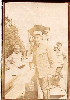 WWI, 1916; French Heavy Artillery Piece on a railway.