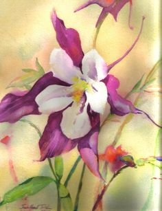 Columbine Watercolor Notecard by paintnsew on Etsy, $7.00