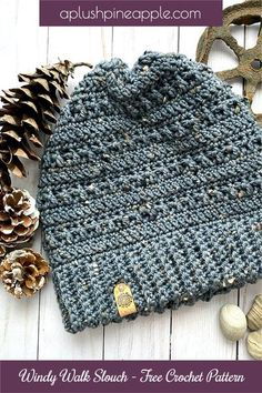 Crochet a gorgeously textured slouch hat using DK yarn for great slouchy drape using this free crochet pattern designed by Northern Maple Yarn Designs @ A Plush Pineapple. #freecrochetpattern #crochetpatternfree #crochethat #crochetbeanie #crochethatpattern #crochetbeaniepattern #crochetproject #crochetpatterns