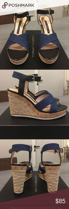 """Denim and Black Espadrilles - French Connection NEVER WORN. STILL IN PLASTIC! These super chic platforms ans never been worn and are in perfect condition. The heels measure 4 1/2"""" high and the front is 1"""". Adjustable ankle strap. Summer is calling!! French Connection Shoes Espadrilles"""