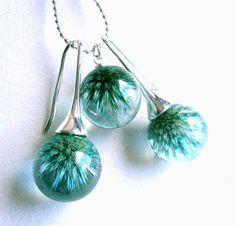Resin pendant and earrings