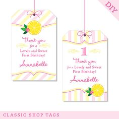 Pink Lemonade party  Custom DIY printable favor tags by Chickabug, $9.00