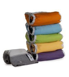 Close Parent 3121001015 - Pack de 5 pañales de tela en colores fuertes con interior de bambú + 1 absorbente de noche