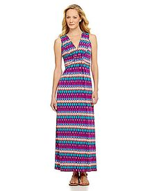aa6660d9f12 Ruby Rd Embellished VNeck Printed Maxi Dress  Dillards