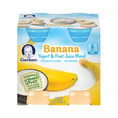 Yogurt Juice made with real juice and whole milk yogurt. Banana Fruit, Juice Bottles, Fruit Juice, Printable Coupons, Baby Food Recipes, Yogurt, Polyvore, House, Yummy Food