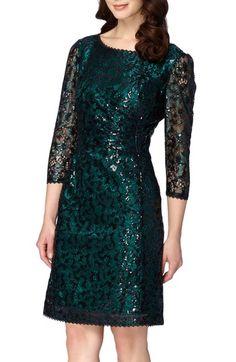 Tahari Sequin Lace Sheath Dress (Regular & Petite) available at #Nordstrom