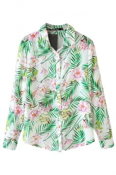 Green Womens Chiffon Bamboo Leaf Narcissus Flower Printed Blouse http://pinkqueen.com/Green-Womens-Chiffon-Bamboo-Leaf-Narcissus-Flower-Printed-Blouse-g42764